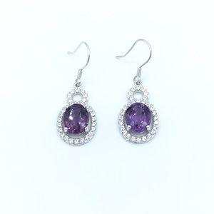 Jewelry - 🛍925 SS Natural Amethyst Dangling Earrings🛍
